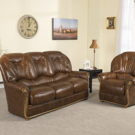 Real Leather Scroll Back Dining Chairs