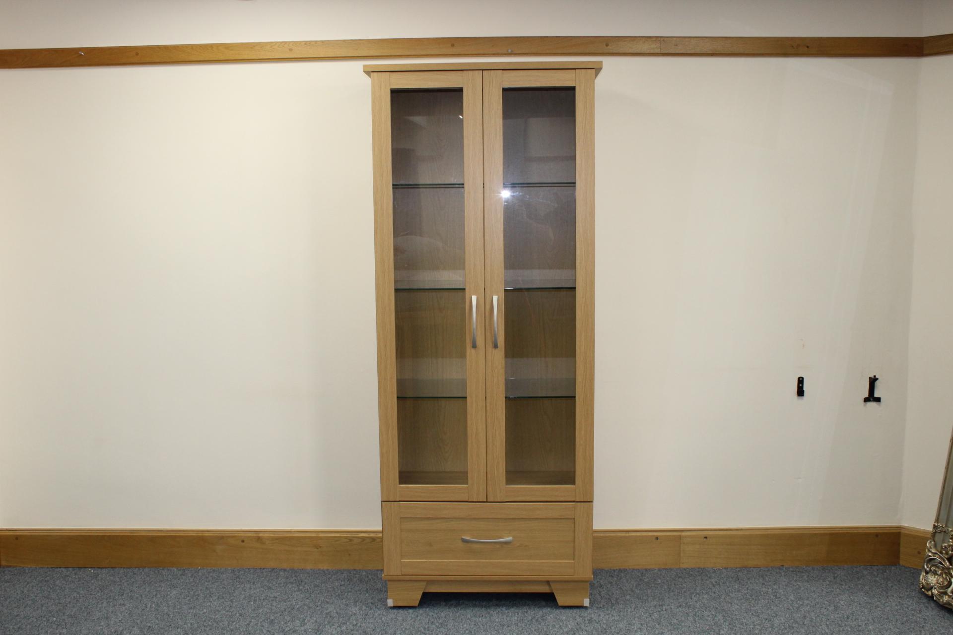 litchfield oak tall display cabi  2 door 1 drawer